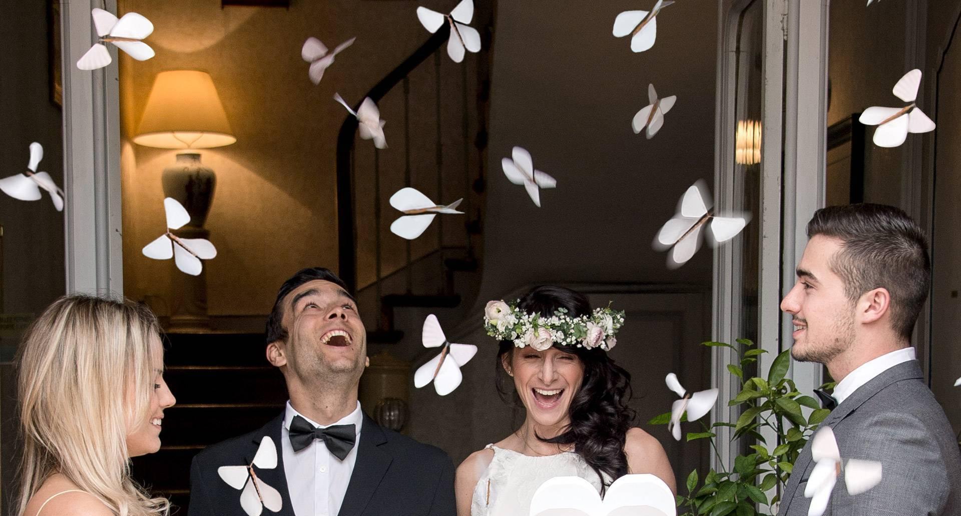 Friends loving the flying butterflies